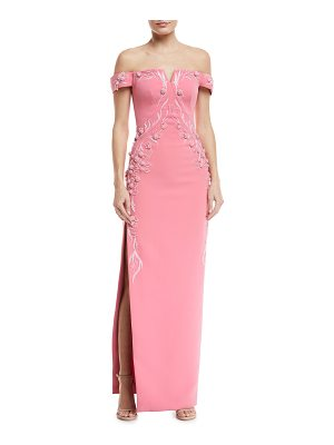 ZAC POSEN Off-The-Shoulder Bonded Crepe Evening Gown W/ Floral Embroidery