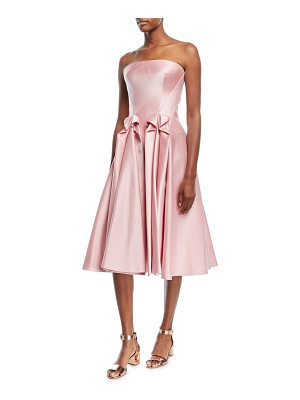 Zac Posen Strapless Double-Face Duchess Satin Tea-Length Cocktail Dress
