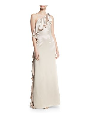 Zac Zac Posen Anne Asymmetric-Neck Ruffled Gown