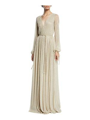 Zac Zac Posen Christina Metallic Pleated Long-Sleeve Wrap Gown