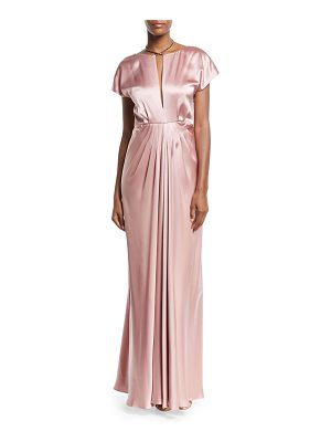 ZAC ZAC POSEN Perry Satin Cowl-Back Short-Sleeve Gown