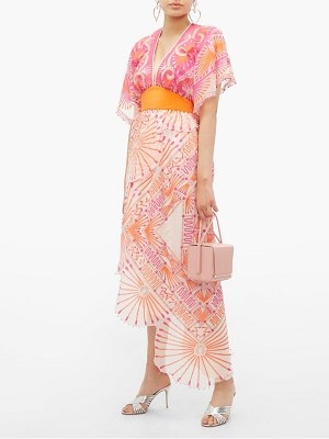 Zandra Rhodes mexican circle print silk chiffon dress