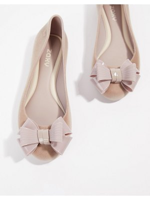 Zaxy flock bow ballerinas