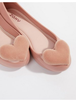 Zaxy flock heart flat shoes