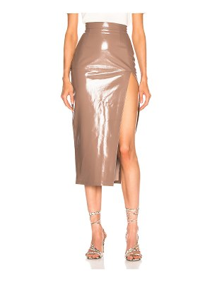 Zeynep Arcay midi leather pencil slit skirt