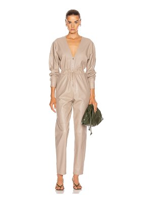 Zeynep Arcay v neck leather jumpsuit