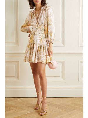 Zimmermann amelie lace-up ruffled floral-print linen mini dress