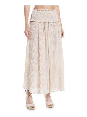 Zimmermann Bayou Smocked-Waist Shirred Maxi Skirt