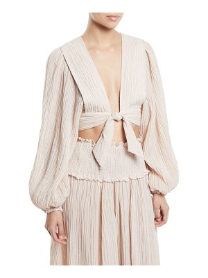 Zimmermann Bayou Tie-Front Blouson-Sleeve Crop Top