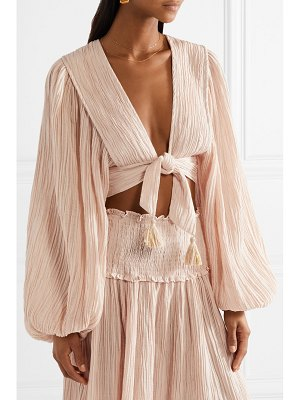 Zimmermann bayou tie-front crinkled ramie and cotton-blend top