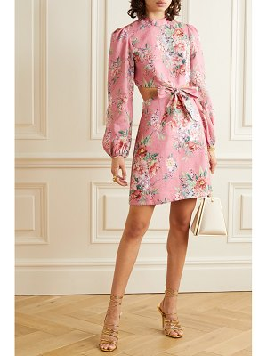 Zimmermann bellitude cutout floral-print linen mini dress