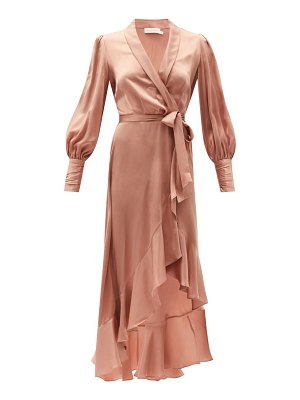 Zimmermann bishop-sleeve silk wrap midi dress