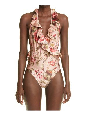 Zimmermann cassia floral print frill wrap one-piece swimsuit