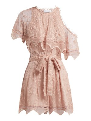 Zimmermann Castile embroidered silk-chiffon playsuit