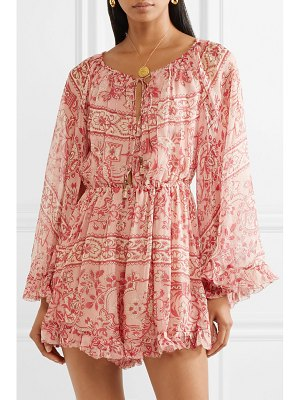Zimmermann castile ruffled floral-print silk-georgette playsuit