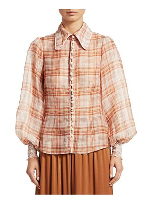 Zimmermann corsage plaid print lantern blouse