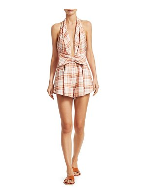 Zimmermann corsage plaid print playsuit