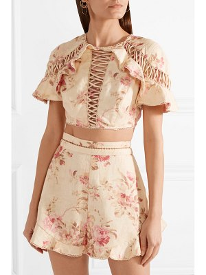 Zimmermann corsair flutter open-back crochet-trimmed floral-print linen top