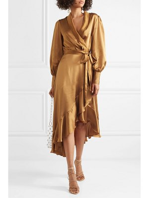 Zimmermann espionage asymmetric ruffled silk-satin wrap dress
