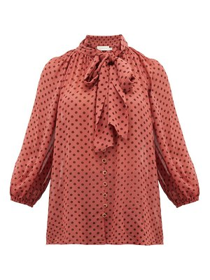 Zimmermann espionage pussy bow polka dot chiffon blouse