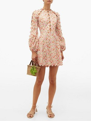 Zimmermann goldie floral print linen blend mini dress