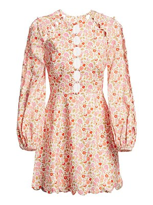 Zimmermann goldie scalloped floral mini dress