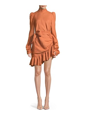 Zimmermann High-Neck Asymmetric Linen Flounce Mini Dress