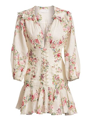 Zimmermann honour corset long-sleeve floral linen dress