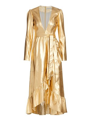 Zimmermann ladybeetle leather metallic belted dress