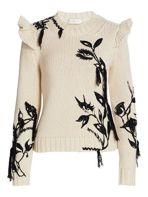 Zimmermann ladybeetle ruffle shoulder embroidered sweater