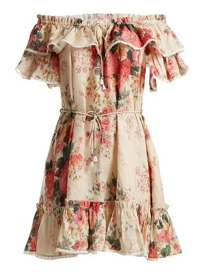 Zimmermann Laelia Floral Print Linen Dress