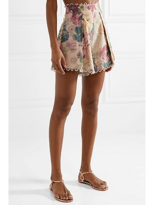 Zimmermann melody crochet-trimmed floral-print cotton-blend shorts