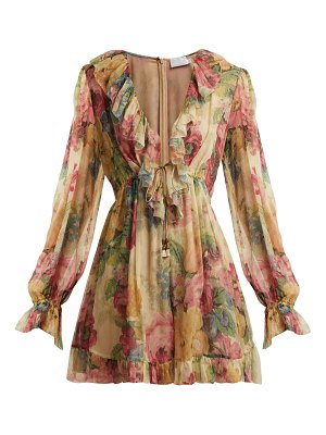 Zimmermann Melody Floating Floral Print Silk Playsuit