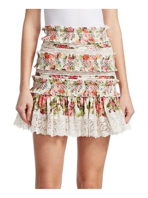 Zimmermann radiate floral smocked skirt