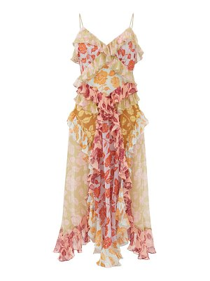 Zimmermann ruffled rose-print silk-chiffon midi dress