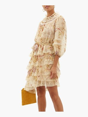Zimmermann sabotage lace-trimmed floral-print silk mini dress
