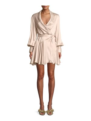 ZIMMERMANN Silk Wrap Blouson-Sleeve Mini Dress