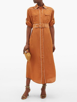 Zimmermann super eight belted silk midi shirtdress