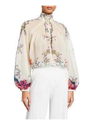 Zimmermann The Lovestruck Blouson-Sleeve Blouse