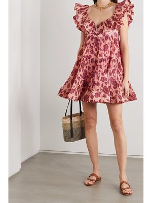 Zimmermann the lovestruck ruffled floral-print plissé-crepe mini dress