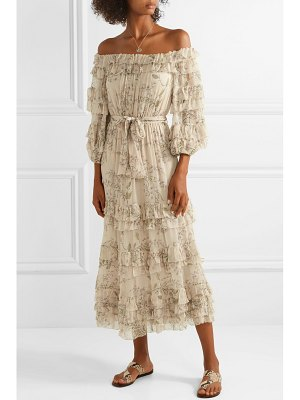 Zimmermann unbridled off-the-shoulder printed silk-chiffon midi dress