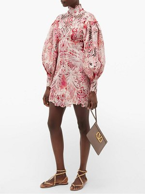 Zimmermann wavelength ikat-print lace mini dress