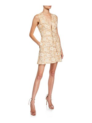 Zimmermann Zippy Floral-Print V-Neck Sleeveless Lace-Up Mini Dress