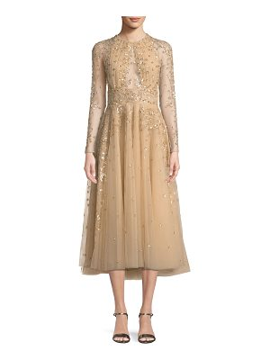 Zuhair Murad Ariana Long-Sleeve Embroidered Tea-Length Cocktail Dress