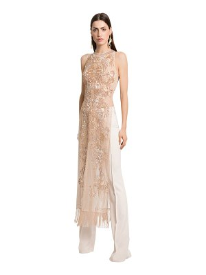 Zuhair Murad Embellished silk tulle tunic w/ pants