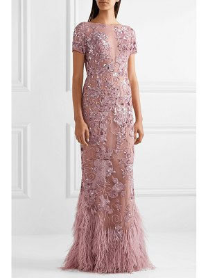 Zuhair Murad feather-trimmed embellished silk-blend tulle gown