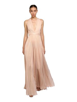 Zuhair Murad Pleated shiny silk long dress
