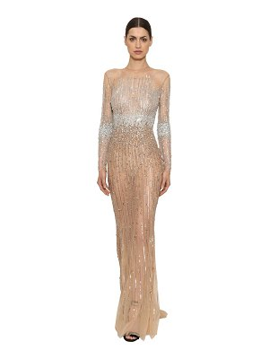 Zuhair Murad Sequined & beaded tulle long dress