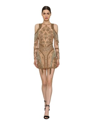 Zuhair Murad Sequins & beads fringed sheer dress