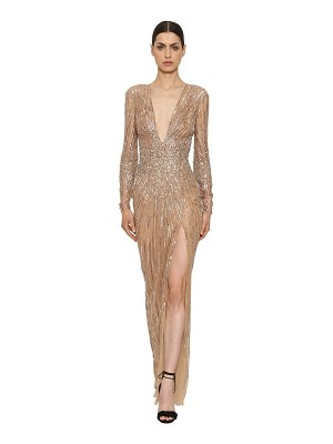 Zuhair Murad Sequins & beads tulle long dress